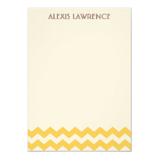 Modern yellow chevron all occasion thank you personalized invites