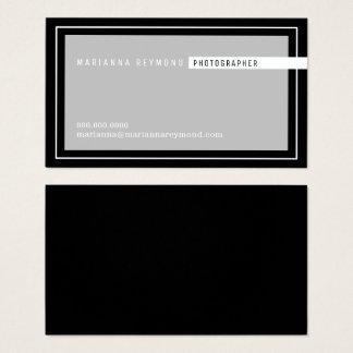 moderno básico cinzento/preto, fotógrafo cartão de visitas