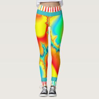 Moderno colorido do fractal psicadélico leggings