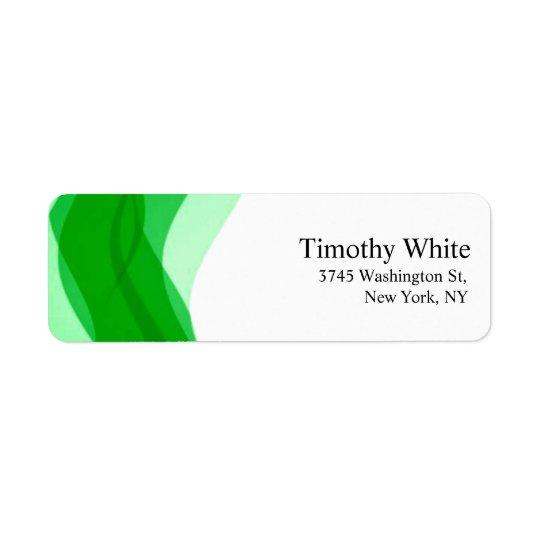 Moderno minimalista elegante liso verde & branco etiqueta endereço de retorno
