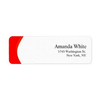 Moderno minimalista elegante liso vermelho & etiqueta endereço de retorno