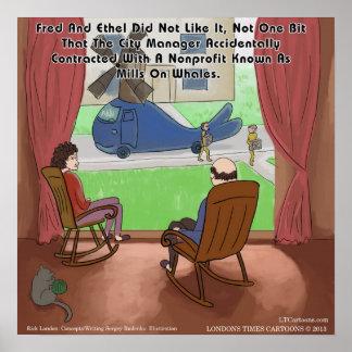 Moinhos engraçados no poster das baleias