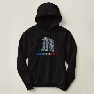 Moletom Bordado Com Capuz Paris France com o Hoodie do d'Triomphe do arco
