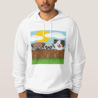 Moletom Cães afortunados da ilustração em uma cerca de