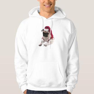 Moletom Com Capuz Pug do Natal - cão de Papai Noel - persiga claus