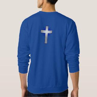 Moletom Não preocupe a camisola w/Blue alargou-se cruz