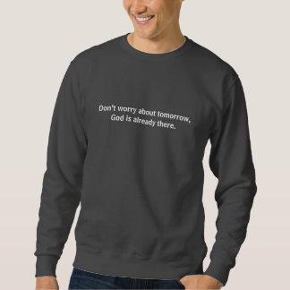 Moletom Não preocupe a cruz do esboço da camisola w/Black
