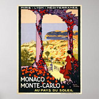 Monaco Monte - viagens vintage de Carlo Pôsteres