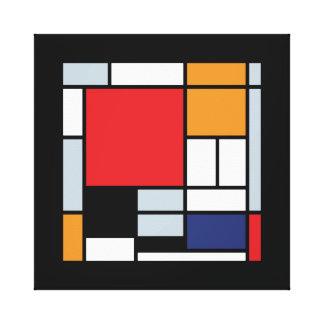 Mondrian - composição com grande plano vermelho impressão em tela canvas