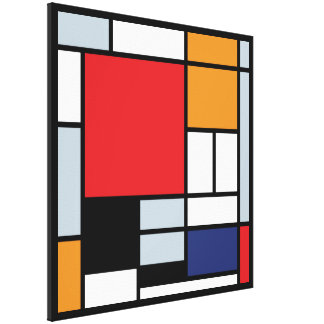 Mondrian - composição com grande plano vermelho impressão de canvas esticada