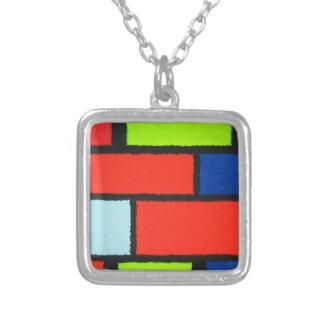. Mondrian distorcido alaranjado e verde Colar Com Pendente Quadrado