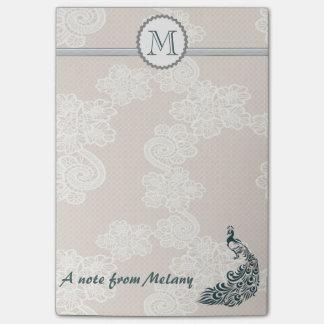 Monograma à moda elegante bonito do pavão do laço bloquinho de nota