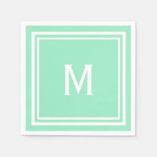 Monograma à moda moderno do costume do verde da guardanapo de papel