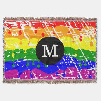 Monograma afligido do gotejamento do arco-íris coberta