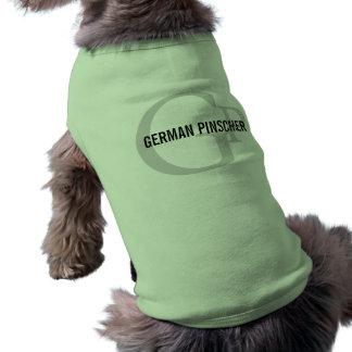 Monograma alemão da raça do Pinscher Camisa Sem Mangas Para Cachorro