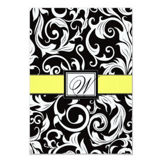 Monograma amarelo & cartões pretos do casamento convite 8.89 x 12.7cm