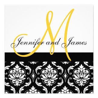 Monograma amarelo convite preto do casamento tema