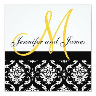 Monograma amarelo, convite preto do casamento tema