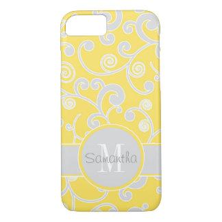 Monograma amarelo e cinzento do costume do design capa iPhone 7