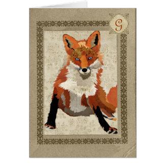 Monograma ambarino Notecard do Fox Cartões