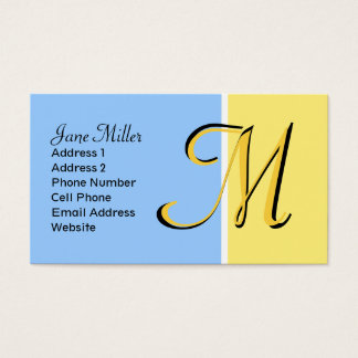monograma azul amarelo cartão de visitas