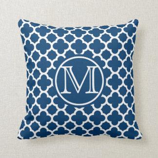 Monograma azul de Quatrefoil Almofada