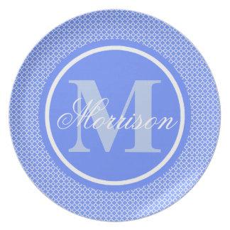 Monograma azul de Quatrefoil Prato De Festa