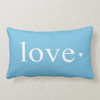 Monograma azul do coração do amor do Aqua Travesseiro De Decoração