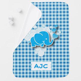 Monograma azul do teste padrão | DIY do design do Cobertores De Bebe