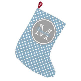 Monograma azul e cinzento de Carolina das bolinhas Bota De Natal Pequena