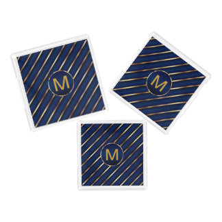 Monograma azul escuro e listras do ouro