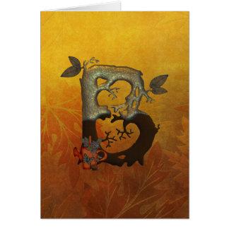 Monograma B da árvore do outono Cartão Comemorativo