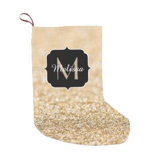 Monograma bonito dos sparkles do brilho do ouro do meia de natal pequena