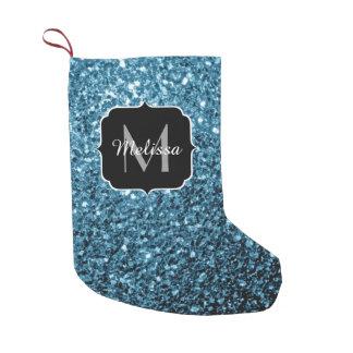 Monograma bonito dos sparkles do brilho dos azuis bota de natal pequena
