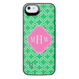 Monograma branco do rosa quente 3I do marroquino Capa Carregador Para iPhone SE/5/5s