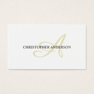 Monograma branco elegante minimalista do cartão de visitas