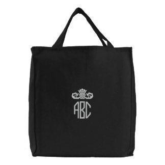 Monograma branco formal com o saco bordado coroa bolsas