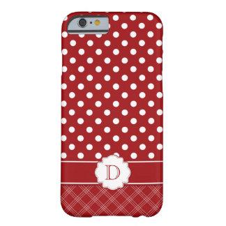 Monograma branco vermelho das bolinhas do caso capa barely there para iPhone 6