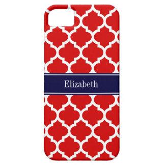 Monograma branco vermelho do nome dos azuis capa para iPhone 5