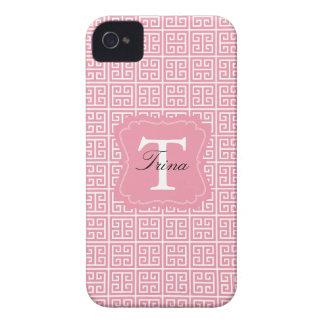 Monograma chave grego cor-de-rosa e branco capinhas iPhone 4