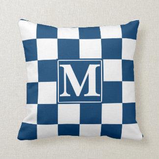 Monograma Checkered azul Almofada