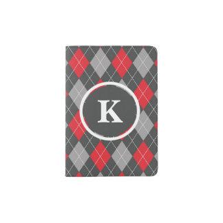 Monograma, cinza vermelho do teste padrão feito capa para passaporte