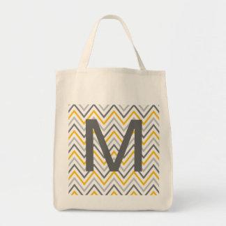 Monograma cinzento amarelo do ziguezague de bolsa tote