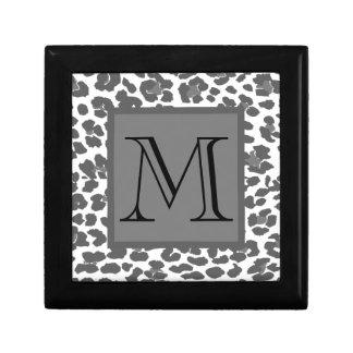 Monograma cinzento do costume do impressão do leop caixa de presente