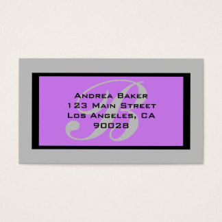 monograma cinzento roxo cartão de visitas