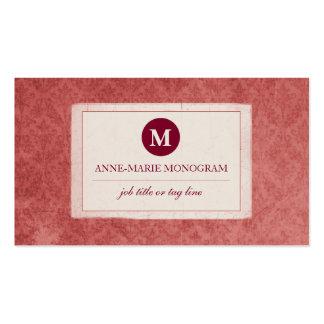 Monograma clássico do damasco do vintage (o rosa cartão de visita