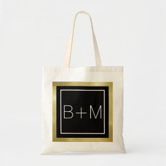 monograma clássico elegante, casamentos bolsa tote