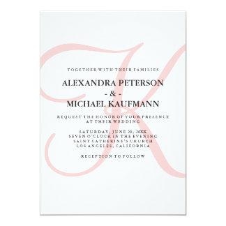Monograma clássico moderno vertical no casamento convite 12.7 x 17.78cm