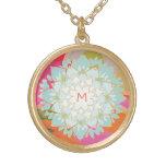 Monograma colorido bonito da flor de Lotus Bijuteria Personalizada