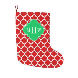 Monograma conhecido esmeralda branco vermelho do bota de natal grande
